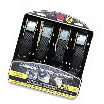 "Mann Cambuckle Tie Down Straps with S-hooks 4-Pack Set 1""x10' 300lb Load Capacit"