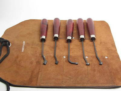 5 Ullman Checkering Tools Carbide Tipped w Leather Tool Belt Gunstock Stock