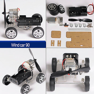 DIY Mini Wind Strength Car Model Assembled Toy Kit Children Educational Toy Gift