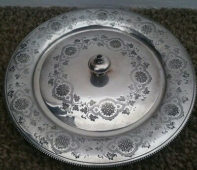 Vintage Silver Plated Engraved Lidded Entree Dish