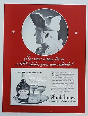 1937  PRINT AD PAUL JONES WHISKEY see what a keen flavor a dry whiskey gives