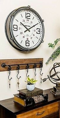 Vintage Inspired Large Wall Clock Modern Industrial And Farmhouse Decor