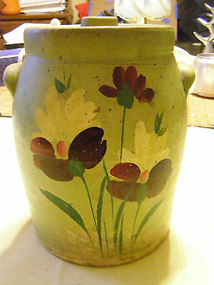 ANTIQUE HAND PAINTED GREEN w/ FLOWERS STONE WARE Ceramic CROCK/ COOKIE JAR