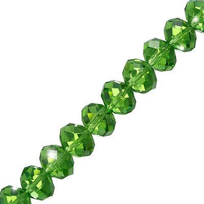 """Light Green Faceted Crystal Rondelle Glass Beads 10x14mm 8"""" (P44)"""