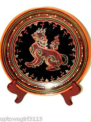 FOO DOG 1800s fine CHINESE LACQUER WOOD Plate Bowl FOO LION gorgeous Pan Yun