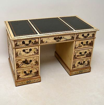 Antique Chinoiserie Pedestal Desk