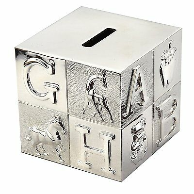Baby ABC Block Piggy Bank, Silver Finish, ABC Letter Coin Bank, New In Box