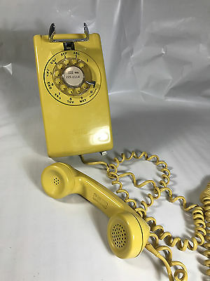 Vintage Bell System Western Electric Rotary Dial Bright Yellow Wall Telephone