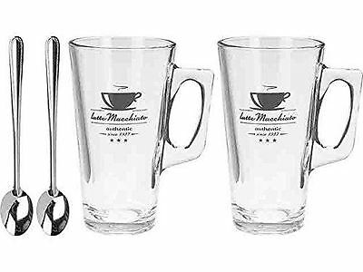 Set Of 2 Latte Glasses Cups Mugs 300 ml Hot Chocolate Drink Cappucino & 2 Spoons