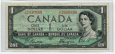 1954 Canada Canadian $1 One Dollar Bill Banknote Bank of Canada Note Rare
