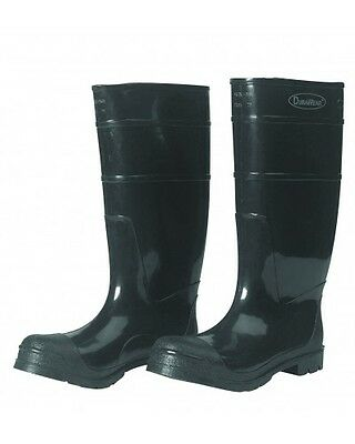 "1551 / 8 - Durawear Black PVC 16"" Steel Toe Boots, Over-the-sock Style - Size 8"