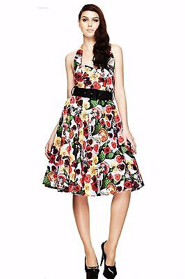 63dfc8892ae Hell Bunny Mexico 50 s Calavera Day of the Dead Sugar Skull Dress Roses  Cactus