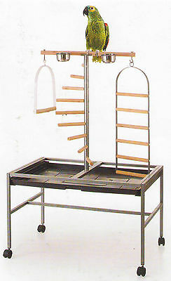 NEW Large Wrought Iron Parrot Play Stand Parrot Bird Play Gym Ground Stand-098