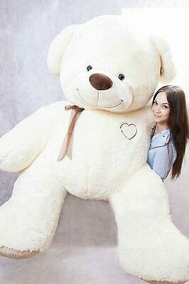 GIANT LARGE BIG HUGE TEDDY BEAR +EMBROIDERY 120 160 190cm BROWN BEIGE WHITE ECRU