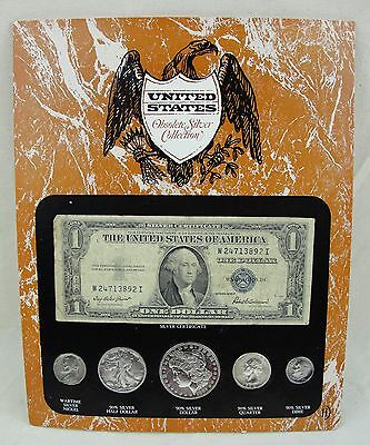 United States Obsolete Silver 90% Silver 5 Coin Set w $1 Silver Certificate