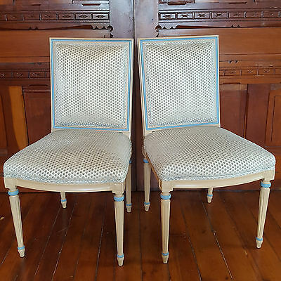 TWO Cornflower Blue VELVET POLKA-DOT French Provincial HAND PAINTED WOOD Chairs