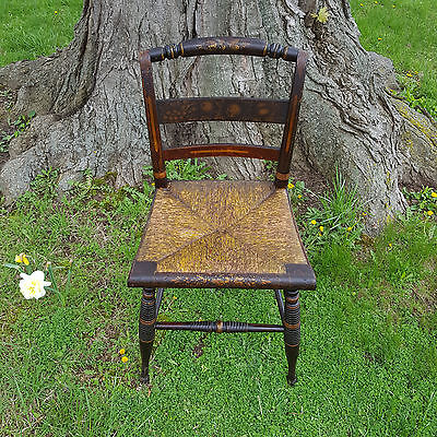 Antique EARLY 19th c. SHERATON RUSH-SEAT Carved & FANCY-Stenciled Side Chair