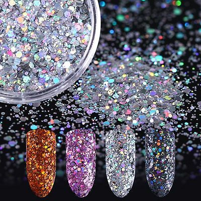 2g/box Decoration Hexagon Flakes Nail Art Sequins Holographic Glitter Powder