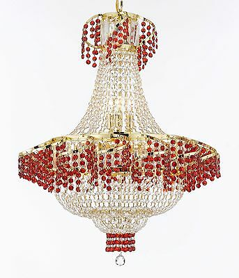 """Moroccan Style French Empire Crystal Chandeliers H30"""" W24"""" - Dressed with Ruby"""