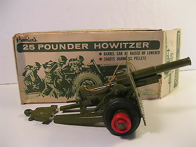 PREMIER's 25 POUNDER HOWITZER 1960's JAPAN DIECAST WITH ORIGINAL BOX 8-1/2 IN.