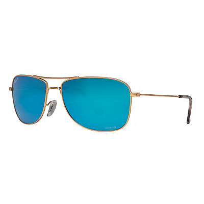 Ray Ban RB3543 112/A1 59mm Gold Blue Mirror Chromance Polarized Sunglasses