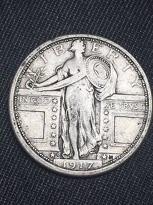 1917 D Standing Liberty Silver Quarter Type 1 VF+