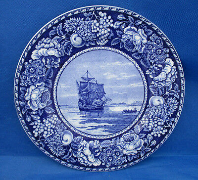 British Anchor Historical Pottery MAYFLOWER IN PLYMOUTH HARBOR Fruit Flowers Rim