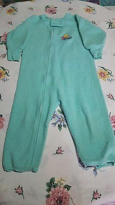 "EDEN TOYS ""PADDINGTON BEAR"" boy girl 3T Teal footie pj blanket sleeper Vintage"