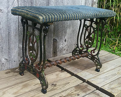 Antique Art Deco Polychrome String Instrument Themed Cast Iron Music Piano Bench