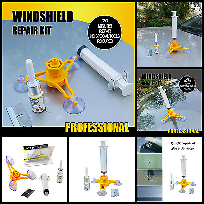 Auto Windshield Glass Repair Kit Chips Crack Resin Sealer Automotive Car Window
