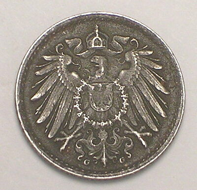 1917 G German Germany 5 Pfennig Eagle WWI Era Iron Coin