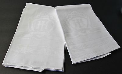 Antique 2 Nubby Linen Hotel Towels Intertwined H I Logo Laurel Leaf Borders
