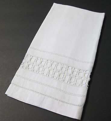 Antique Nubby Linen Towel Filet Crochet Inset Rows of Hemstitching