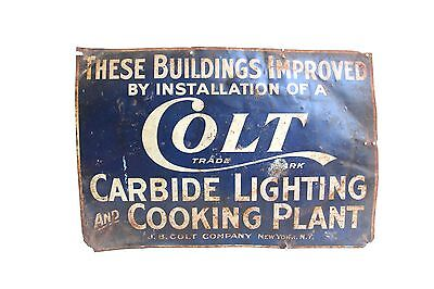 1900s Colt Trade Ark Tin Sign Carbide Lighting & Cooking Plant Embossed