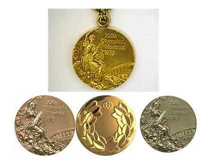 1976 Montreal Olympic Medals Set with Chain Necklace & Display Stands !!!