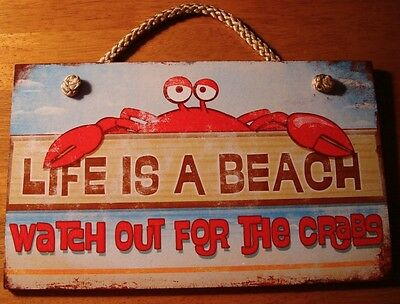 LIFE IS A BEACH WATCH OUT FOR THE CRABS Home Decor Sign Nautical Rope Hanger NEW