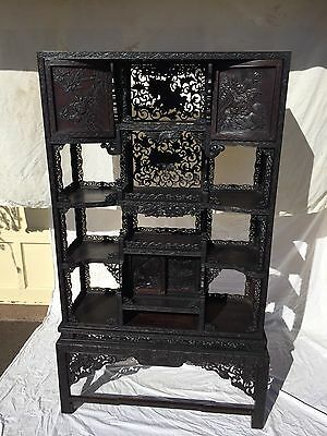 Great Antique Japanese 2 Part Display Wood Cabinet Beautiful Carving All Over
