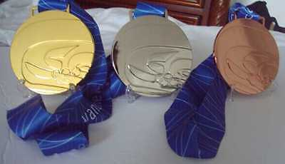 2010 Vancouver Olympic Medal Set with Silk Logo Ribbons & Display Stands !!!