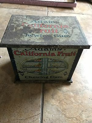 Vintage Original 1920s Adams Calfiornia Fruit Chewing Gum Metal Store Display
