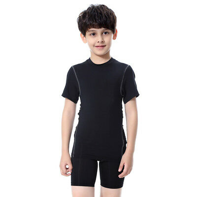 UNHO Kids Compression Tights Top Shorts Shirt Running Junior Boys Thermal Pants