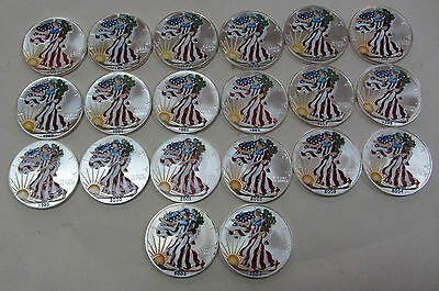 1986-2006 Colorized American Silver Eagles 20- 1 oz. Pure Silver Including 1996
