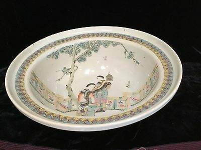"Antique Chinese porcelain famille verte hand painted bowl basin 14.5"" Qing"