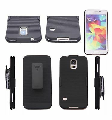 Black Hard Ribbed Case & Belt Clip Holster Stand Samsung Galaxy Note 2 3 4 5 S7