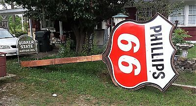 Phillips 66 Porcelain Gas Oil Sign And Pole