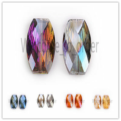 Charms Big Long Flat Oval Glass Crystal Bead Necklace Finding Loose Spacer Beads