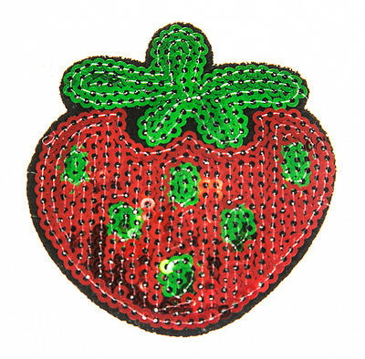 STRAWBERRY Sequin Embroidered Patch Sew Iron-On Patch Ready Made New