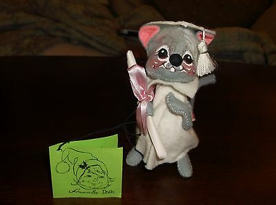 Annalee Dolls Graduation Mouse Closed Mouth Smile VGC Tagged Vintage Pink