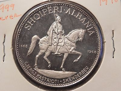 ALBANIA 1970 10 LEKE 1oz SILVER PROOF PRINCE ON HORSE 40mm LESS THAN 500 MINTED