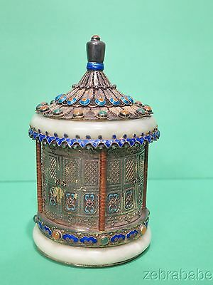 Antique Chinese Tea Caddie Pagoda Silver Cloisonne Mutton Jade Jewels