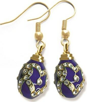 Faberge Egg Earrings with crystals 1.6 cm blue #0850